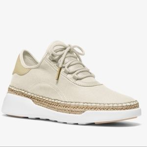 Michael Kors Cream Finch Canvas Lace-Up Sneaker